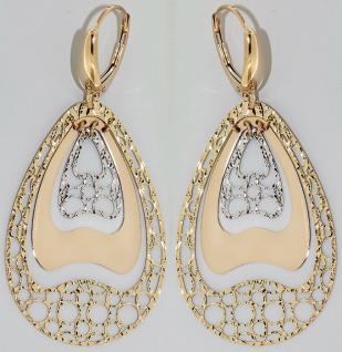 Tolle Ohrhänger Gold 585 Ohrringe lang und beweglich Goldohrringe bicolor 14kt