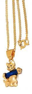 Katze Anhänger und Kette Gold pl Panzerkette Goldkette pl Kette Goldkatze
