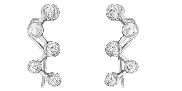 Designer Ohrhänger Weißgold 585 Zirkonias Ohrringe Damen WG 14 Kt
