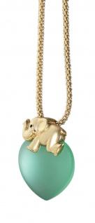 Elefant Gold 375 Anhänger 9 Karat hellgrünes Herz mit oder ohne Kette