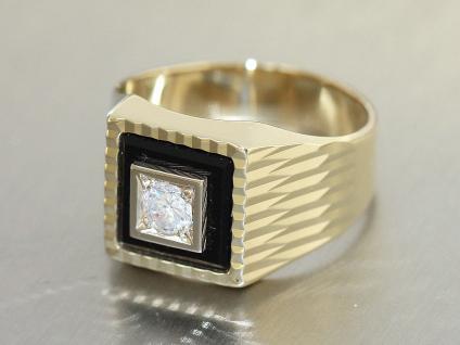 Ring Gold 585 mit Onyx und Zirkonia Ring Gold 14 Karat Goldring