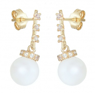 Ohrhänger Gold 585 Perlen 8, 5 mm Ohrringe Zirkonias elegante Damen Ohrstecker