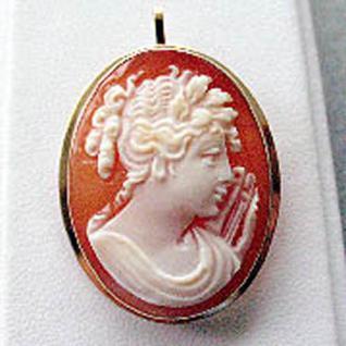 Anhänger oder Brosche Gold 585 Muschelcamee Gemme Goldanhänger Goldbrosche