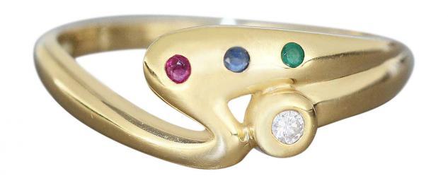 Goldring 585 mit Brillant Rubin Saphir Smaragd Ring Gold Damenring 14 Kt.