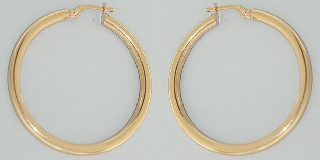 Große Creolen Gold 585 Ohrringe 3, 6 mm Ø Ohrschmuck 14 Karat glänzend Damen - Vorschau 1