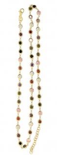 Silberkette 925 vergoldet Zirkonias multicolor Kette Silber Gold bunt Karabiner - Vorschau 1