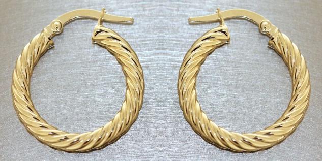 Creolen Gold 585 Ohrringe gedreht 14 Karat Damen Ohrschmuck 2, 0 cm - Vorschau 2