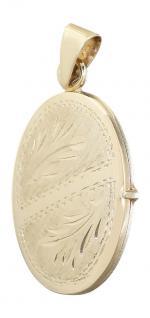 Ovales Medaillon Anhänger Gold 585 / 14 Kt Kettenanhänger Goldanhänger Schmuck