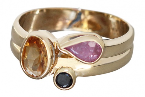 Goldring 585 mit Citrin + Rubin + Saphir - Multicolor - Ring Gold - Damenring