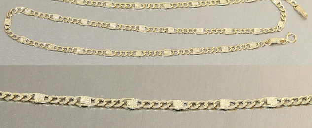50 cm Panzerkette - Goldkette 585 - Sternenglieder - Halskette Kette Gold 14 kt