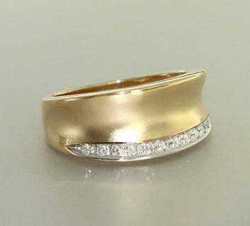 Breiter Goldring 585 Brillantring Gold 585 Ring Gold Diamantring 0, 11 ct