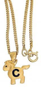 Goldkette pl und Anhänger Pferd Buchstabe C Panzerkette Kinderkette Gold pl