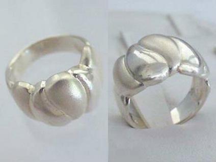 Breiter Silberring 925 - Ring echt Silber - Damenring - matt / glänzender Ring