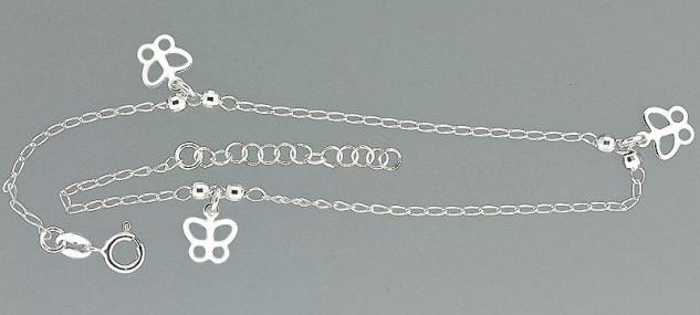 Trendiges Fußkettchen echt Silber 925 mit Schmetterling - Fußkette - Silberkette