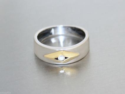 Ring Gold 585 - Ring in 14 kt Weissgold und Gelbgold mit 1 Zirkonia