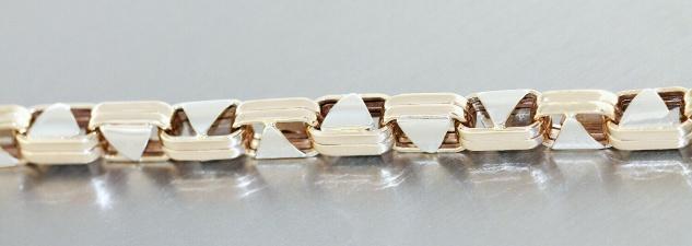 Armband Gold 585 bicolor schwere Armkette 13, 5 gr. Karabiner Goldarmband 22 cm