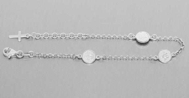 Schutzengel Armband Silber 925 Armkette mit 3 Engeln Silberarmband Angelo Kreuz
