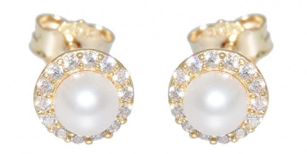 Perlen Ohrstecker Gold 585 Zirkonias Ohrringe kleine runde Perlenstecker Damen