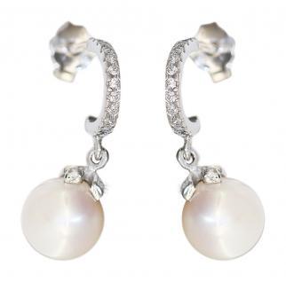Weißgold Ohrstecker 585 mit Perle und Zirkonias Ohrringe Ohrhänger Stecker Gold