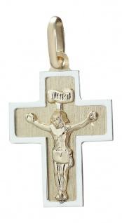 Anhänger Kreuz Gold 585 bicolor mit Korpus Goldkreuz Kettenanhänger 14 Karat