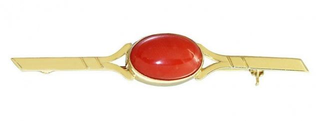 Brosche Gold 750 Koralle Cabochon elegante Goldbrosche 18 Kt. Korallenbrosche