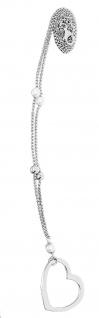 Silberkette 925 mit Herz Anhänger und Perlen Halskette Erbskette Collier Damen