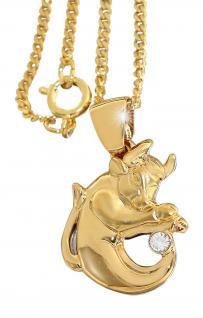 Sternzeichen goldener Stier mit Zirkonia Goldkette Panzerkette pl Anhänger