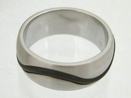 Designer Edelstahl Ring mit Kautschuk schwarz Breiter Bandring Edelstahlring