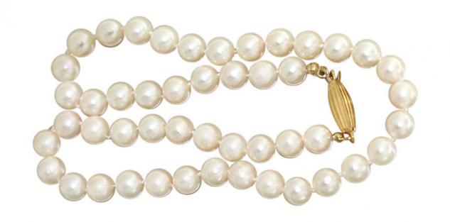 Echte Perlenkette 43 cm Collier mit Verschluss Gold 750 Halskette 18 kt Perlen