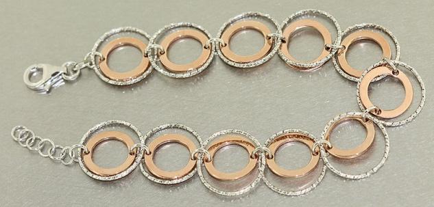 Silber Rosegold Armband 925 - super Silberarmband Rotgold Armkette Damenarmband
