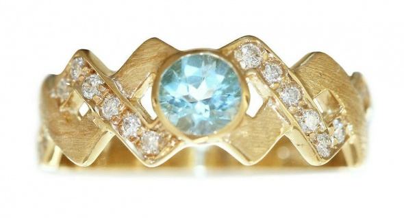 Ring Gold 585 Brillanten 0, 18 ct. Diamantring Blautopas Damen Goldring 14 Kt.