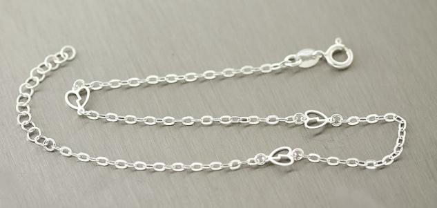 Massive feine Fußkette Silber 925 Fußkettchen mit Herzen Silberkette Herz