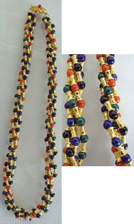 Collier Gold 750 mit Koralle Lapis Onyx Malachit Goldkette multicolor 68 g