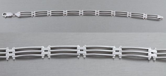 20 cm massives Silberarmband 925 gerade Linien breites Armband Silber - Armkette - Vorschau 2