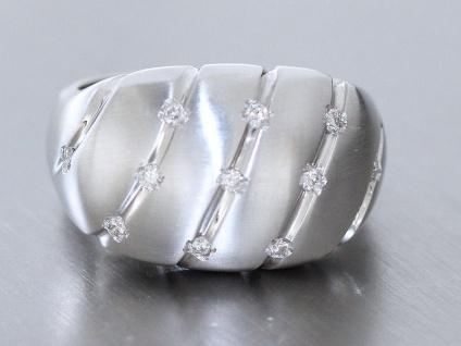 Sehr breiter Ring Weißgold 750 Brillantring 0, 11ct. Weißgoldring Goldring 18kt