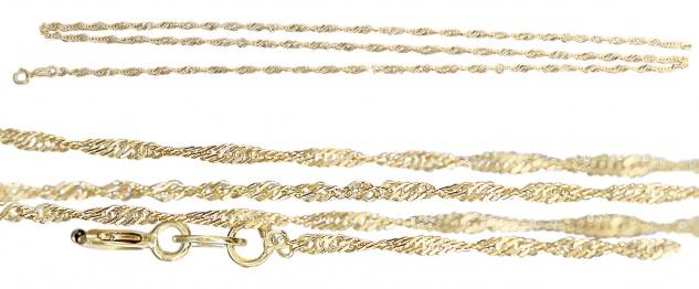 45 / 50 cm feine Singapurkette Gold 585 geschliffen Goldkette Gelbgold Halskette