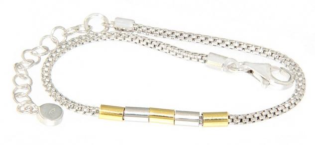 Armband Kette Silber 925 bicolor vergoldet Himbeerkette mit Dekorteilen Damen