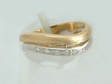 Ring in Zweifarbengold 585 Goldring Welle mit Brillanten Brillantring 14 kt