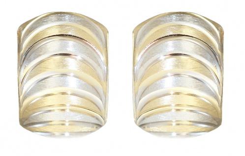 Breite Klappcreolen Gold 585 bicolor Ohrringe breite Halbcreolen Gold 14kt
