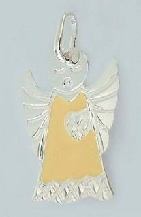 Reizender Schutzengel Silber 925 Anhänger orange emailliert Silberanhänger Engel