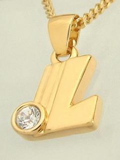 L - Schmuckset - Goldkette und Anhänger vergoldet Buchstabe L - Panzerkette Gold