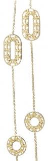 Kette Gold 750 ovale u runde Dekorglieder 84 cm lange Halskette Collier 18 kt