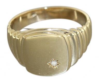 Herrenring Ring Gold 585 mit Brillant Goldring Brillantring 14 Karat Gelbgold