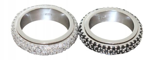 Drehbarer Memory Ring Silber 925 Zirkonia in Schwarz Weiß breiter Silberring