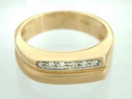 Goldring mit 6 Brillanten - massiver Ring Gold 585 - Brillantring Damenring 14kt