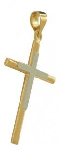 Goldkreuz 585 bicolor - Anhänger Kreuz 14 kt - edler Goldanhänger zur Kommunion