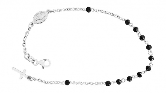 Rosenkranz Armband Silber 925 rhodiniert mit schwarzen Perlen Kreuz Maria