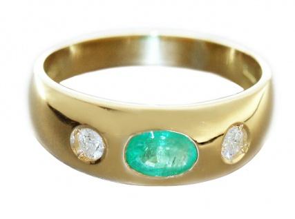 Ring Gold 585 Allianzring Smaragd Brillanten 0, 15 ct Brillantring Damen RW 58