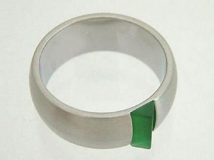 Breiter Edelstahlring mit grünem Schmuckstein Bandring Damenring Ring Edelstahl