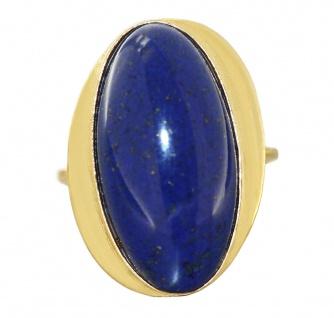 Ring Gold 750 Lapisring großer Lapis Lazuli Cabochon Goldring 18 Kt. Damenring